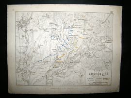 Battle of Amsterlitz, Moravia: 1848 Antique Battle Plan. Johnston